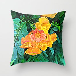 Orange Flowers of Flowing Circuitry Throw Pillow