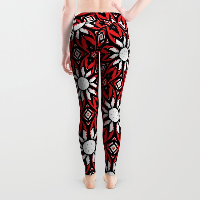 Black, white and red kaleidoscope flowers 9054 Leggings