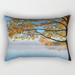 Autumn bench by the lake Rectangular Pillow