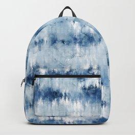 Modern hand painted dark blue tie dye batik watercolor Backpack