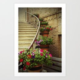 Stairway with Flowers Art Print