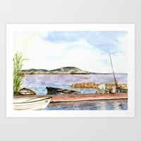 fishing Art Prints featuring Fishing by Vargamari