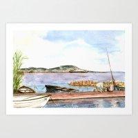 fishing Art Prints featuring Fishing by Vargamari
