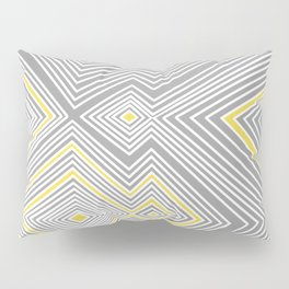White, Yellow, and Gray Lines - Illusion Pillow Sham