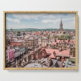 View of Oxford with Steeple | Europe UK City Architecture Landscape Photography Serving Tray