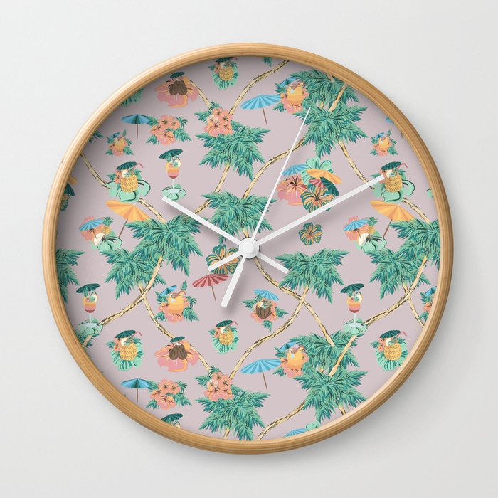 Dusty pink tropical drinks Wall Clock