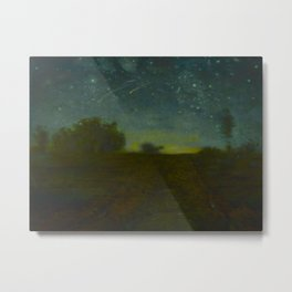 Jean-François Millet - Starry Night - Ombre Yellow Green Nightscape Metal Print