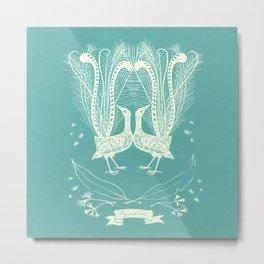 Lyrebird (eggshell blue) Metal Print