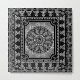 Indian Elephants Yin Yang Mandala Metal Print