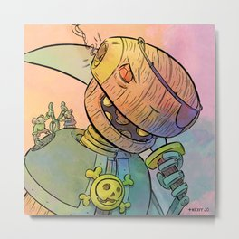 Robot Pirate Metal Print