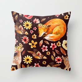 Seamless pattern little fawn sleeping fox and flowers Throw Pillow