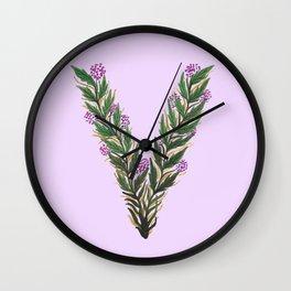 Leafy Letter V Wall Clock