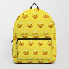 Emoji Winking Face Pattern Backpack