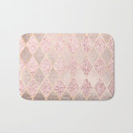 Blush Rose Gold Glitter Argyle Bath Mat
