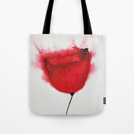 Single Poppy Madder Lake Red Light / Watercolor Painting Tote Bag