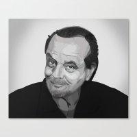 jack nicholson Canvas Prints featuring Jack Nicholson by leighgf