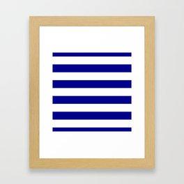 Australian Flag Blue and White Wide Horizontal Cabana Tent Stripe Framed Art Print