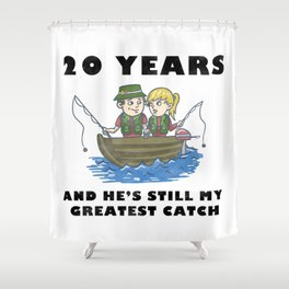 Anniversary 20 Couple Fishing Wife Husband Gift Shower Curtain
