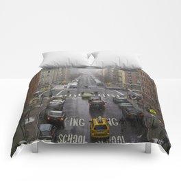 East Harlem NYC Snowy Saturday Comforters