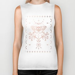 Magical Moth In Rose Gold Biker Tank