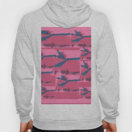 Pink Silk Barbed Wire, fiber art mixed media, abstract Hoody