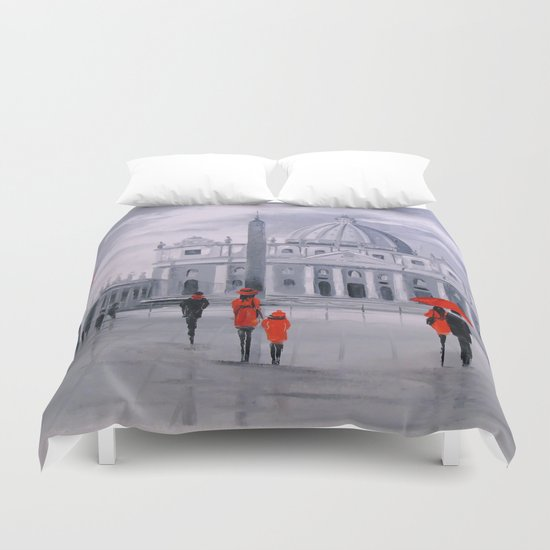 Walking in Rome Duvet Cover