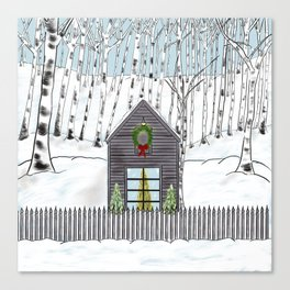 Christmas Cabin In The Snowy Woods Canvas Print