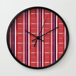Red, White & Blue on Red Background (striped / semi-checkered) Wall Clock