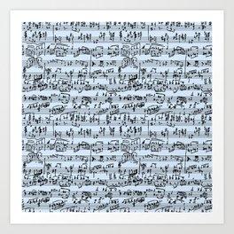 Hand Written Sheet Music // Light Blue Art Print