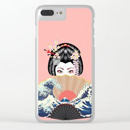Portrait of japanese geisha woman with traditional fan design Clear iPhone Case