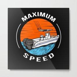 Speedboat Racing Boat Motorboat Captain Metal Print