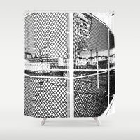 outdoor Shower Curtains featuring outdoor basketball court black and white by Dragonheart