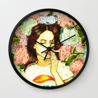 ultraviolence Wall Clocks featuring Hydranges and Peyote by Robert Red ART