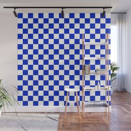 Cobalt Blue and White Checkerboard Pattern Wall Mural