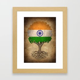 Vintage Tree of Life with Flag of India Framed Art Print