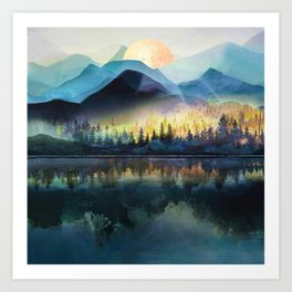 Mountain Lake Under Sunrise Art Print