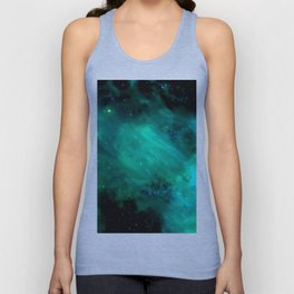 Teal Blue Indigo Sky, Stars, Space, Universe, Photography Unisex Tank Top