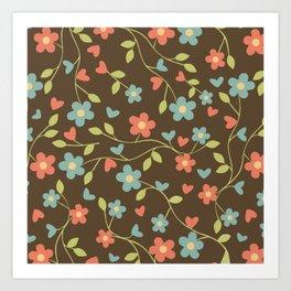 Elegant drawn floral pattern Art Print