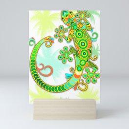 Gecko Lizard Colorful Tattoo Style Mini Art Print