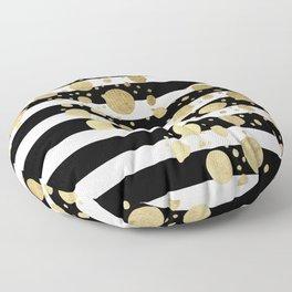 Faux Gold Paint Splatter on Black & White Stripes Floor Pillow