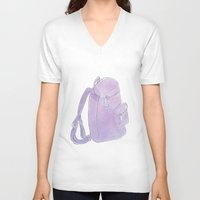 backpack V-neck T-shirts featuring Backpack purple by Atelier Pora