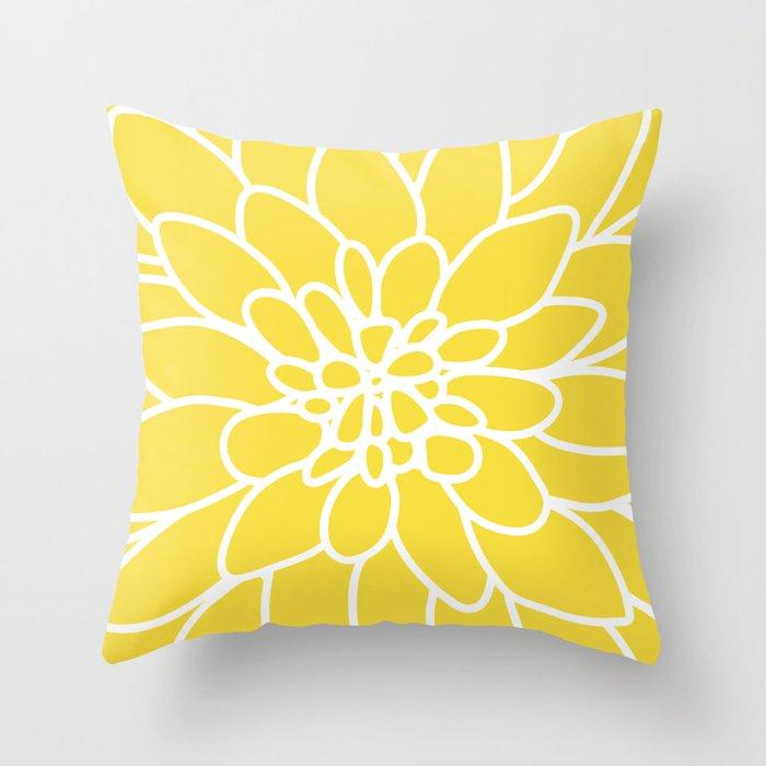 Modern Yellow Pillows : Modern Yellow Dahlia Flower Throw Pillow by aldariartstudio Society6
