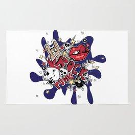 Crazy punk rock abstract background. Skulls, guitars, rock symbols, disk, stars,lips. Rug