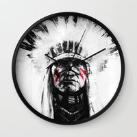 native american Wall Clocks featuring Native American by Maioriz Home