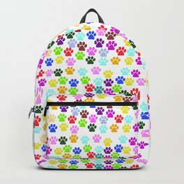 Dog Paws, Trails, Paw-prints - Red Blue Green Backpack