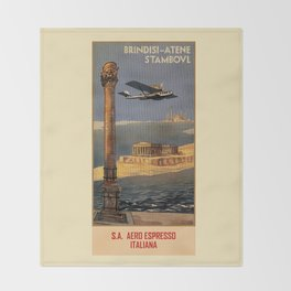 Italian vintage plane travel Brindisi Athens Istanbul Throw Blanket
