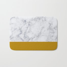 Marble Mustard yellow Color block Bath Mat