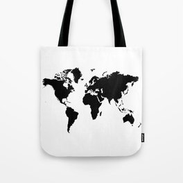 Black and White world map Tote Bag