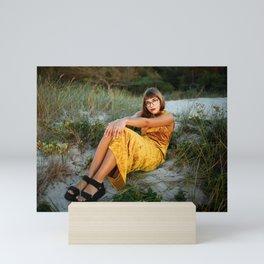 Golden Hour, Golden Dress Mini Art Print