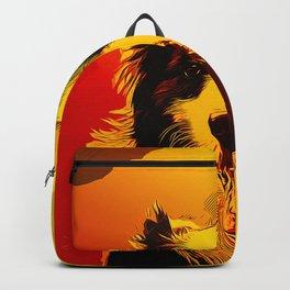 border collie shepherd dog vector art edgy ember Backpack